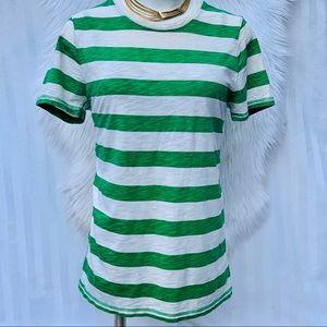 J.Crew Super Soft Cotton Green Striped Shirt